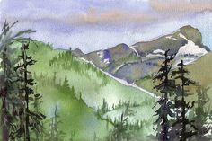 watercolor mountains | Summer in The Mountains is painted on 140 pound watercolor paper.