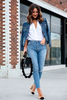 Denim jacket, white shirt, skinny jeans, beige heels, black bandana, black shoulder bag - Fashion 2018, women's fashion, fashion trends 2018, fashion blogger, street style, spring fashion, fall fashion, spring outfit, fall outfit, classic outfit, casual outfit, denim on denim, denim jacket outfit.