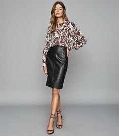 Reiss Megan - Leather Pencil Skirt in Black Block Heels Outfit, Black Leather Pencil Skirt, Reiss, Fashion Wear, Trendy Fashion, Leather Fashion, Trendy Outfits, Clothes For Women, Women's Clothes