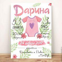 Купить Метрика постер детский - белый, метрика, Метрика для девочки, метрика на заказ, метрика детская