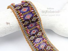 Bokhara peyote stitch beaded Bracelet pattern by Sabine Lippert