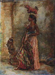 Bali Painting, Figure Painting, Indonesian Art, Driftwood Art, Vintage Pictures, Black Art, Asian Art, Traditional Art, Female Art