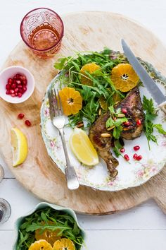 Sips and Spoonfuls: Zaatar and Pomegranate Roasted Chicken and Arugula and Clementine Salad with Walnuts and Clementine Mustard Dressing