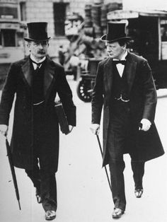 """The """"Terrible Twins"""" David Lloyd George and Winston Churchill in 1907 during the peak of their """"radical phase"""" as social reformers. David Lloyd George became Prime Minister on December Winston Churchill, Belle Epoque, Mode Costume, Costume Dress, Homburg, Frock Coat, La Mode Masculine, Edwardian Fashion, Vintage Man"""