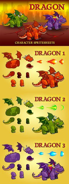 Here you will find a collection of Fantasy Dragons Character Sprite. This high-quality game graphics is perfect for games of the genre RPG March Of Empire, Tower Defense, Fantasy Dragon, Sprites, Game Character, Icon Design, 2d, Dragons, Cart