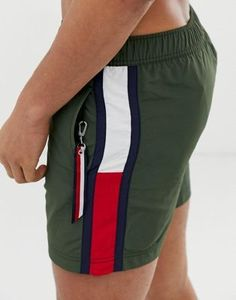 Tommy Hilfiger medium drawstring swim shorts with large flag size taping im olive - Swim Shorts - Ideas of Swim Shorts - Tommy Hilfiger medium drawstring swim shorts with large flag size taping im olive Men's Swimsuits, Vintage Swimsuits, Swim Shorts, Summer Shorts, Men's Shorts, Short Outfits, Casual Outfits, Bomber Jacket Outfit, Polo Shirt Outfits