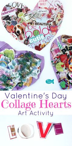 Valentine's Day Collage Hearts are a fun art activity for all ages | Last Minute Valentines | Valentine's Day | Collage | Collage Art | Art for Kids | Art Activity | Valentine's Day Art | Valentine's Day for Teens | Heart Collage | Love | Art Class | Vale