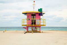 Photographer Léo Caillard shot the series 'Miami Houses'. It is showing different lifeguard houses on Miami´s beaches, which are all very different in form and. Beautiful Beach Houses, Beautiful Beaches, South Beach, Miami Beach House, Miami Life, Leo, San Francisco Girls, Station Balnéaire, Seaside Village