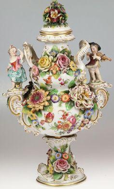 Fine Porcelain, Porcelain Ceramics, Ceramic Art, Potpourri, Art Nouveau, Antique Perfume Bottles, Hand Painted Plates, Flower Frog, Victorian Decor
