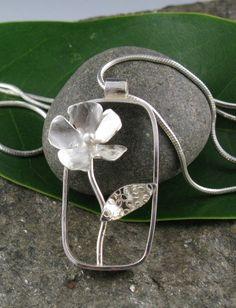 Sterling Silver Rectangular Flower Pendant by annewalkerjewelry