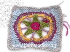 DROPS Crocheting Tutorial: How to work sea star square used in 169-37