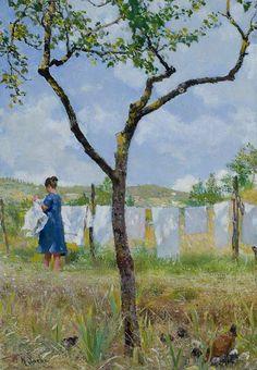 "huariqueje: "" Drying Laundry - Raffaello Sorbi .1920s Italian, 1844-1931 Oil on canvas, 15,5x10 cm. """