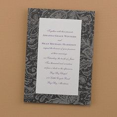 Dazzling Lace Pattern Wedding Invitations - Black A chic, flourish lace design is shown on this black shimmer card.