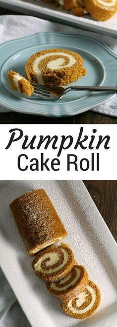 Pumpkin Cake Roll with Cream Cheese Filling | Classic Thanksgiving Dessert Recipe Ideas | Pumpkin Desserts - Chocolate with Grace |