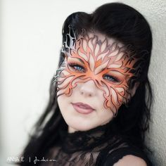 Filigree Flame leather mask in shades of orange by TomBanwell from Tom Banwell Designs. Saved to Exploring Etsy. Mask Makeup, Costume Makeup, Maquillage Halloween, Halloween Makeup, Halloween Queen, Venetian Masks, Venetian Costumes, Masquerade Party, Masquerade Masks