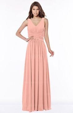 Rosebloom Modern V-neck Zip up Floor Length Ruching Bridesmaid Dresses