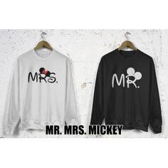 Bluzy dla par zakochanych komplet 2 szt Mr. Mrs. Mickey