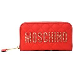 Moschino Wallets (475 BAM) ❤ liked on Polyvore featuring bags, wallets, red, red quilted bag, zip wallet, moschino bags, red bag and moschino