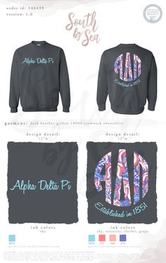 Alpha Delta Pi | ADPi | Script Design | Monogram Design | Hippie Monogram | South by Sea | Greek Tee Shirts | Greek Tank Tops | Custom Apparel Design | Custom Greek Apparel | Sorority Tee Shirts | Sorority Tanks | Sorority Shirt Designs