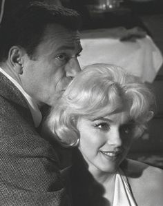 Marilyn Monroe and Yves Montand on the set of Let's Make Love, 1960.