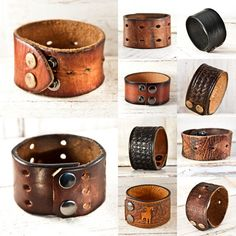 This Mens Wristband Cuff is Handmade from a Vintage Leather Belt. Let me know your wrist size and I will make this cuff a custom fit for you, contact me prior to purchashing to confirm your wrist size. * The last photo features other Leather Cuffs from my Collection. I have similar sizes in the Mens Leather Cuff Section of my Shop: http://www.etsy.com/shop/rainwheel?section_id=7615056 * For info on Wrist Measurements & Cuff Sizing - see my Shop Policy Page: http://www.etsy.com/sho...