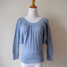 Moda International Mohair Blend Blue Pleated Sweater sz M Victoria's Secret #ModaInternational #RoundedNeckline