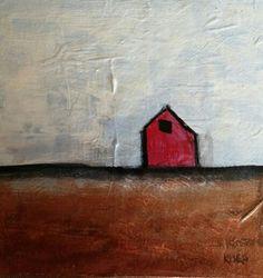 Red Barn, 6x6 mini, kinka snow, #barn