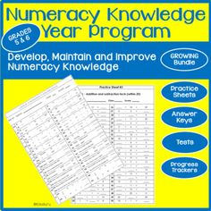 Numeracy Knowledge Program Grades 5 and 6 Growing Bundle Offer Math Activities, Teaching Resources, 12th Maths, Cooperative Learning, Free Math, Student Engagement, Numeracy, Elementary Math, Made Goods