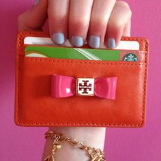 Tory Burch Bow Slim Card Case♥ good for small purses with no room for a  wallet 77642fe1c62b7