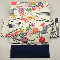 Mild white, silk nagoya obi / 淡い色調で紅型風の柄を施した名古屋帯 http://www.rakuten.co.jp/aiyama #Kimono #Japan #aiyamamotoya