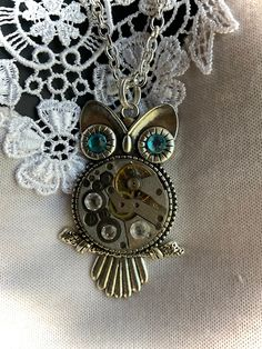 Steampunk Necklace Owl Blue Eyes Up-Cycled Watch Long Silver Box Chain, Bird Lovers / Teacher / Graduation Gift Jewelry Shop, Handmade Jewelry, Handmade Items, Teacher Graduation Gifts, Harry Potter Gifts, Steampunk Necklace, Box Chain, Or Antique, Jewelries