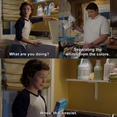 Young Sheldon - Georgie Cooper: What are you doing? George Cooper: Separating the whites from the colors. Georgie Cooper: Whoa, that's racist. Book Memes, R Memes, Funny Memes, Jokes, Tv Quotes, Movie Quotes, Funny Quotes, Sheldon Cooper Quotes, Big Bang Theory Funny