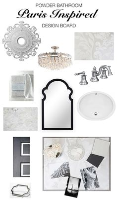 Paris Inspired Powder Bathroom Black and White Design Board