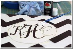 How to Paint a Monogram on a Stool | How to paint | Furniture Makeovers | In My On Style