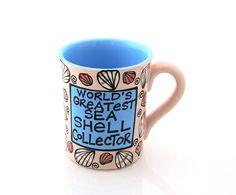 Beach sea ocean mug  worlds greatest seashell by LennyMud on Etsy, $14.00