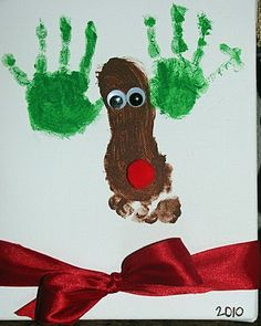 "Foot and Handprint reindeer... ""Merry Christmas... Love you're little Deer."""