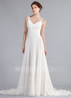 Wedding Dresses - $152.99 - A-Line/Princess V-neck Court Train Chiffon Wedding Dress With Ruffle Lace Beadwork (002011603) http://jjshouse.com/A-Line-Princess-V-Neck-Court-Train-Chiffon-Wedding-Dress-With-Ruffle-Lace-Beadwork-002011603-g11603