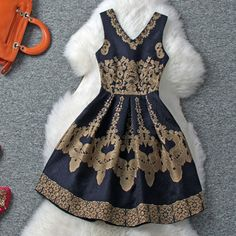 Vintage Flower Embroidery V Neck Tank Skater Dress