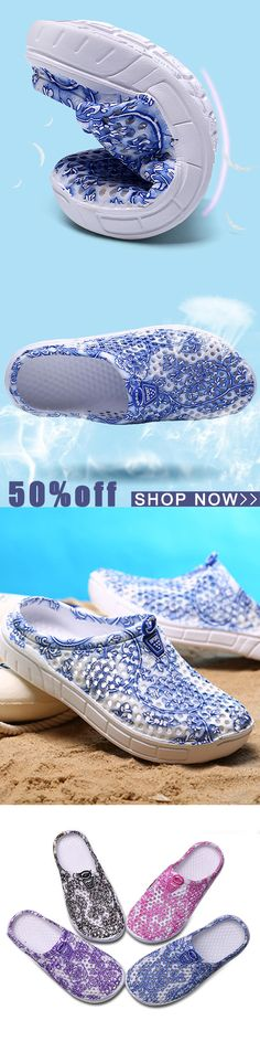16e16cdb3fe9c Floral Printing Hollow Out Breathable Casual Shoes