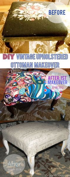 Diy French Inspired Aged Upholstered Ottoman Vintage Home Decor Furniture Makeover Before and After Arts and Classy Blog