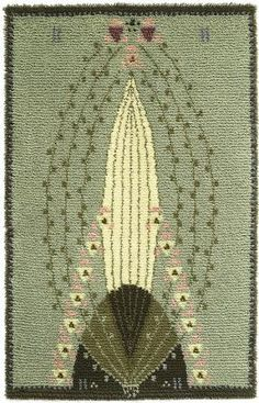 Ruusu (Rose) rya/cloth rug designed by Eliel Saarinen from the times when a designer handled the whole scene from arts & crafts to architecture. Rya Rug, Art Nouveau, Art Deco, Arts And Crafts Movement, Rug Hooking, Woven Rug, Textile Art, Rugs On Carpet, Home Art