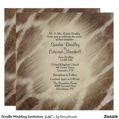 Giraffe Wedding Invitation