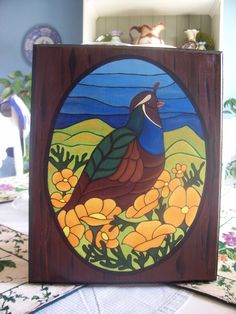 Scenic, Quail, Poppies, Wall Hanging, Hand Painted, Plaque, Sign, via Etsy.