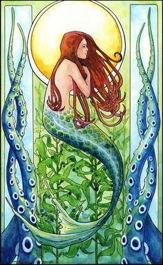 Kelp Forest Mermaid Art Print