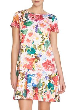 CeCe by Cynthia Steffe 'Hayden' Floral Jersey Drop Waist Dress (Regular & Petite) available at #Nordstrom