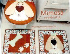 Ceci EuQfiz: Jogo de banheiro de cachorro com moldes 3 D, Decoupage, Patches, Kids Rugs, Quilts, Christmas Ornaments, Sewing, Holiday Decor, Rose