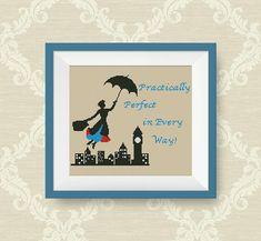 BUY 2 GET 1 FREE Mary Poppins cross stitch por NataliNeedlework