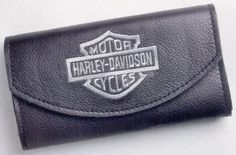 Harley-Davidson® Women's Grey Embroidered B&S Black Leather Organizer Wallet LO810H-2G