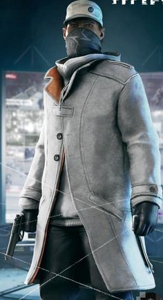 Aiden Pearce Watch Dogs Leather Jacket - New in Distress Sliver Trench Coat #Handmade #Trench