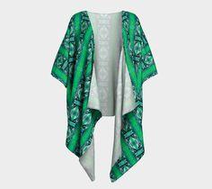 "Draped Kimono ""Green Glass"" by Gaya @Artofwhere #signature #unique #art #designs #exclusive #original #artistic #creation #fashion #accessories #designer #clothing #collection #drape #kimono #women #girl #her #artofwhere #green #silk #knit"